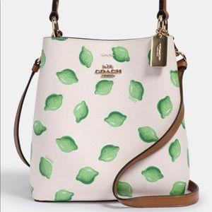 NWT Coach Sm bucket bag lime print